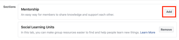 How to improve your Facebook group community, option to add the mentorship section to your Facebook group