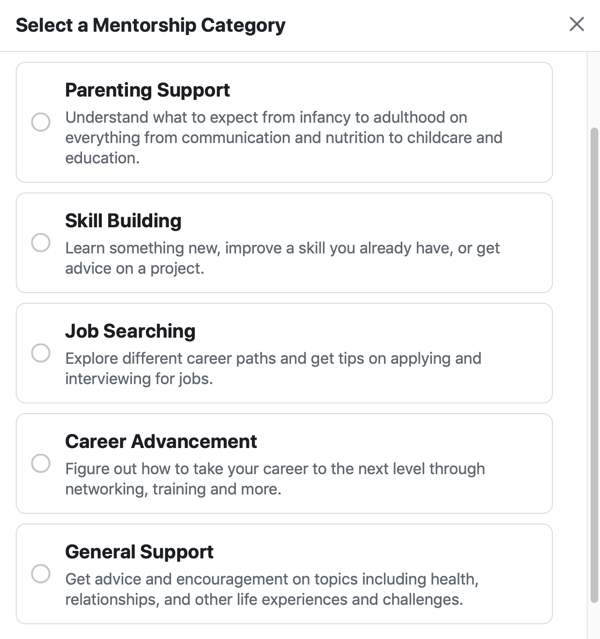 How to improve your Facebook group community, example Facebook mentorship category options