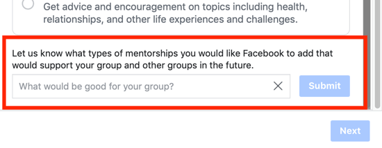 How to improve your Facebook group community, option to suggest a group mentorship category option to Facebook