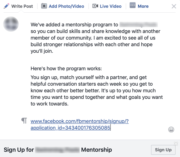 How to improve your Facebook group community, example of a group announcement for a Facebook mentorship program