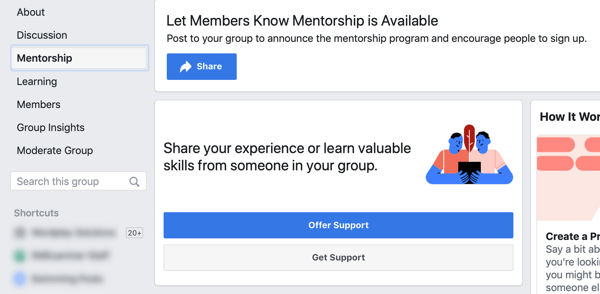 How to improve your Facebook group community, Facebook group mentorship option and dashboard example