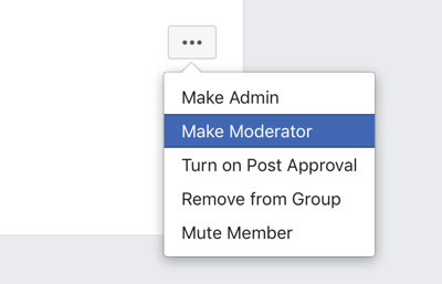 How to improve your Facebook group community, Facebook group menu option to make a member a moderator