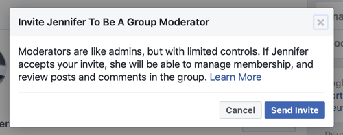 How to improve your Facebook group community, example of the Facebook message when a member is selected to be a group moderator