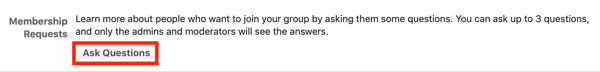 How to improve your Facebook group community, example of Facebook group membership request setting to ask new members questions