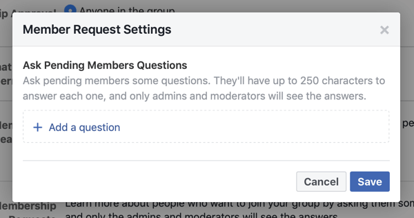 How to improve your Facebook group community, example of Facebook group member request settings allowing for new member questions