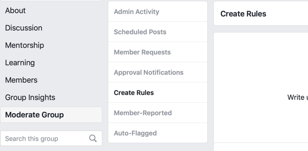 How to improve your Facebook group community, Facebook menu option to create rules to moderate your group