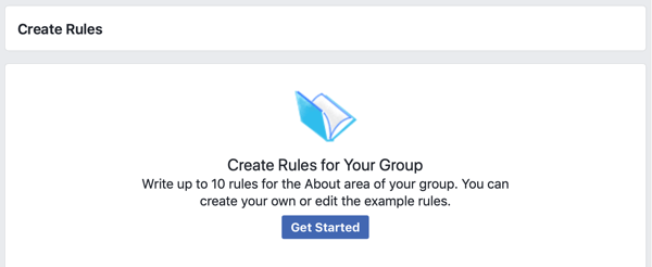 How to improve your Facebook group community, Facebook option to get started creating rules for your group