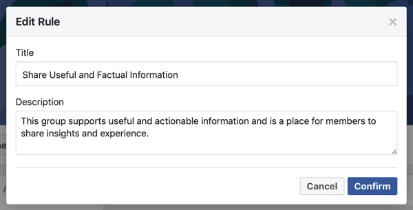 How to improve your Facebook group community, option to write your own Facebook group rule