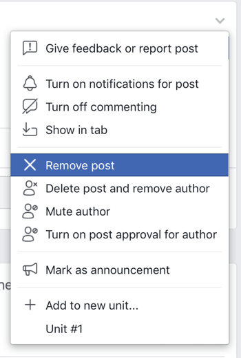 How to improve your Facebook group community, Facebook menu option to remove a post from your group