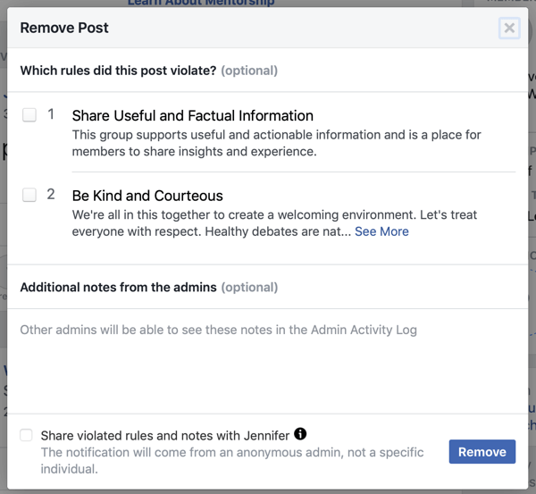 How to improve your Facebook group community, example of Facebook option to identify which rule(s) a post violated, as well as option to notify the member