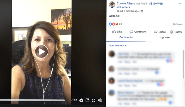 How to improve your Facebook group community, example of Facebook live for #SMMW19 Volunteers