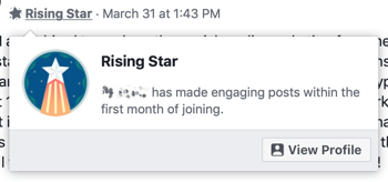 How to use Facebook Groups features, example of Rising Star group badge