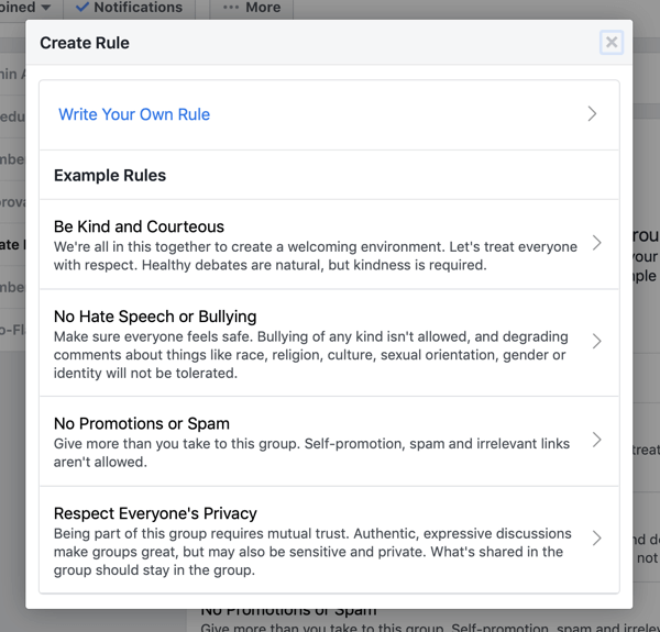 How to use Facebook Groups features, how to create group rule