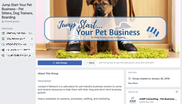 How to use Facebook Groups features, example of group for Jump Start Your Pet Business