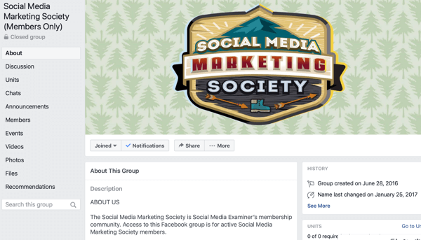 How to use Facebook Groups features, example of Facebook group page for Social Media Marketing Society