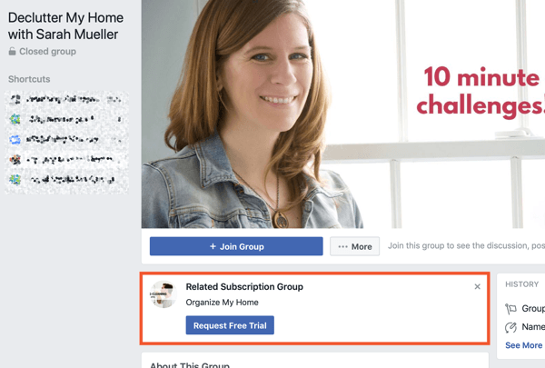 How to use Facebook Groups features, example of related subscription group for Declutter My Home