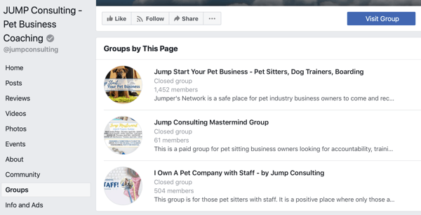 How to use Facebook Groups features, example of groups on Facebook page, JUMP Consulting
