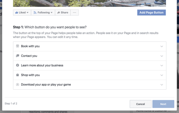 Step 1 to create your Facebook business page call to action button.