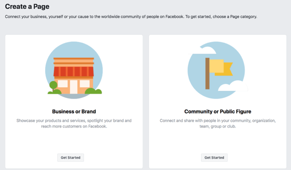 Step 1 to create your Facebook business page.