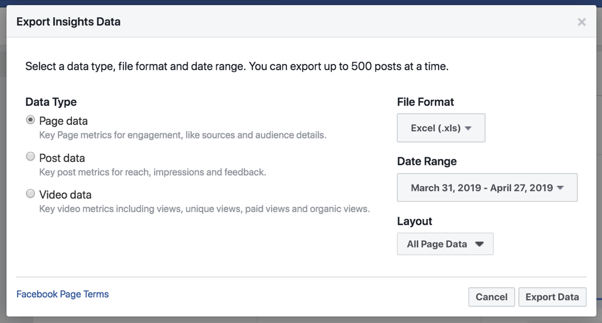 Export your Facebook Insights data to simplify analysis of the data.