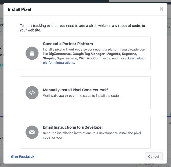 Install the Facebook pixel to track audience activity and ad results across your marketing channels.