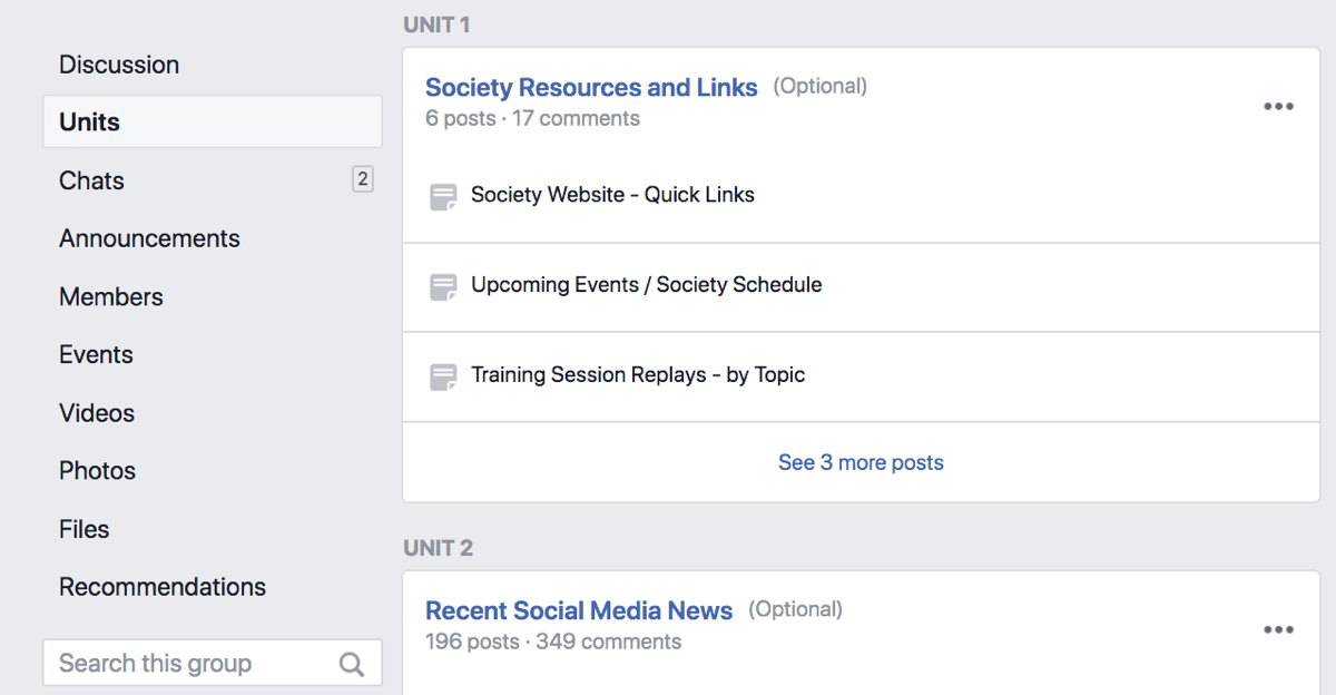 Facebook Group Units allow you to use your group as a platform for online education, or to organize your posts by topic