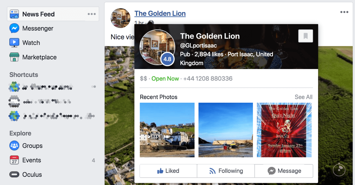 When someone hovers over your Facebook page in the news feed, it displays a page preview.