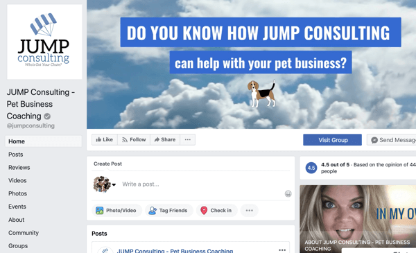 How to use Facebook Groups features, example of Facebook page for JUMP Consulting