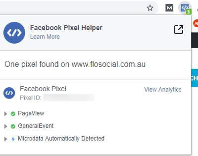 Use the Facebook Event Setup Tool, step 12, Facebook Pixel Helper extension details for an example webpage