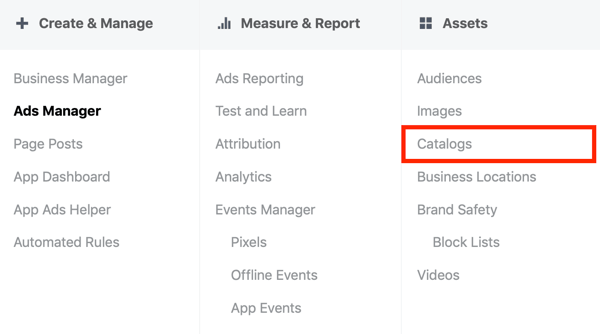 Use the Facebook Event Setup Tool, step 18, menu option to select catalogs under assets in Facebook Ads Manager