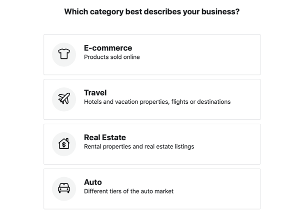 Use the Facebook Event Setup Tool, step 19, industry category options for your Facebook Ads catalog