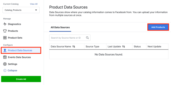 Use the Facebook Event Setup Tool, step 22, menu option to add products via the product data sources tab in Facebook