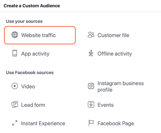 How to create Facebook reach ads, example of website traffic audience setting for ads
