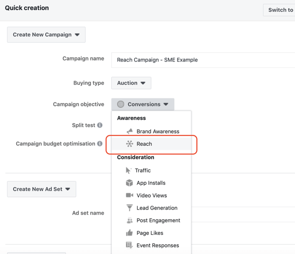 How to create Facebook reach ads, step 2, option to set campaign objective to Reach under campaign settings