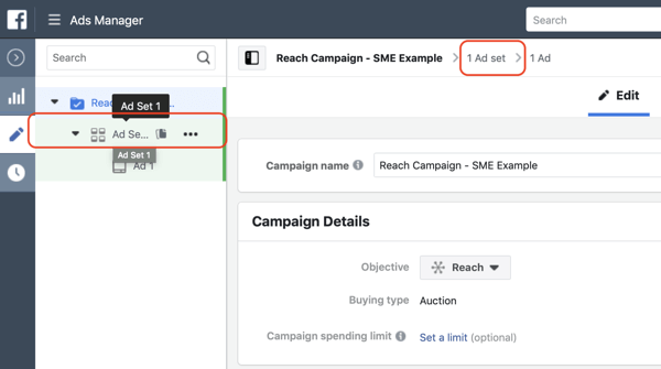 How to create Facebook reach ads, step 3, settings to navigate to the ad set level of your campaign