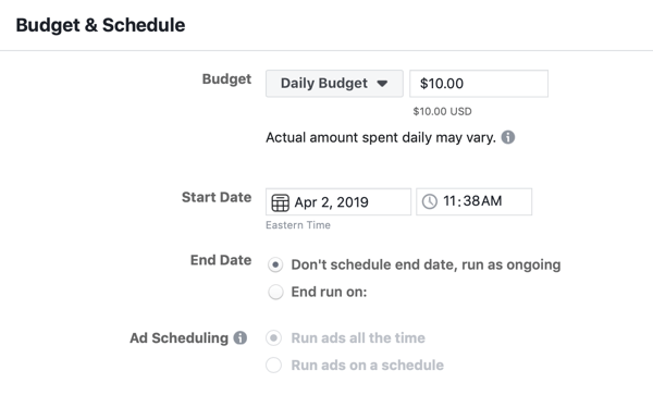How to create Facebook reach ads, step 4, budget and schedule ad settings