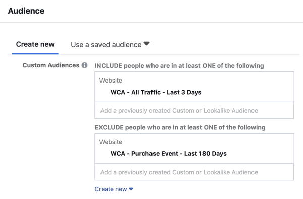 How to create Facebook reach ads, step 5, custom audience ad settings for website traffic