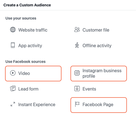 How to create Facebook reach ads, example of sources for engagement custom audiences for ads