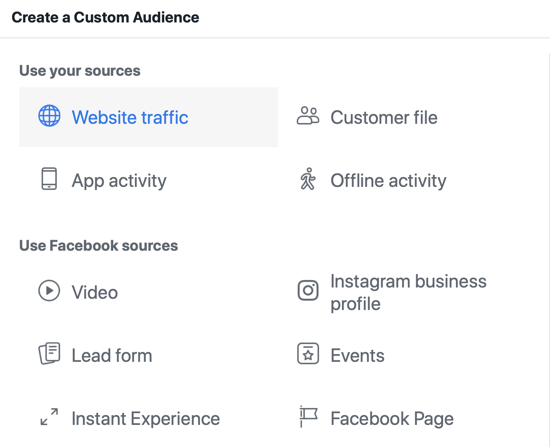 Use the Facebook Event Setup Tool, step 14, Facebook menu option to select website traffic as audience source