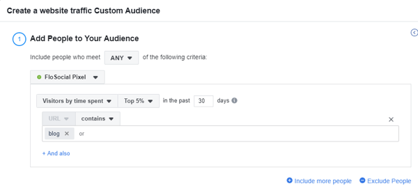 Use the Facebook Event Setup Tool, step 16, settings to create a website traffic custom Facebook audience based on time spent on website