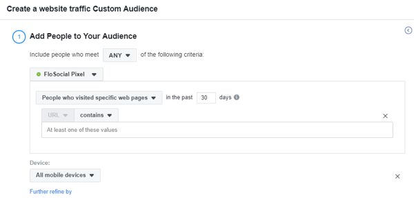 Use the Facebook Event Setup Tool, step 17, settings to create a website traffic custom Facebook audience based on device
