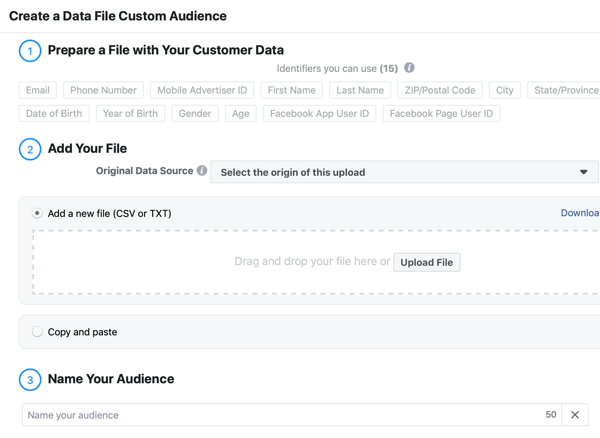 How to use social media to identify prospects from a live event, step 2, create data file custom audience