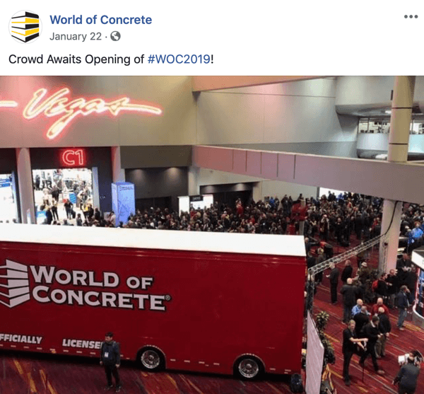 How to use social media to identify prospects from a live event, example of live event social marketing by World of Concrete