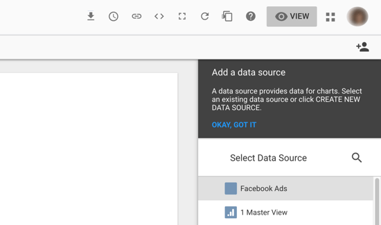Use Google Data Studio to analyze your Facebook ads, step 7, option to select your data source as your Facebook Ads connector