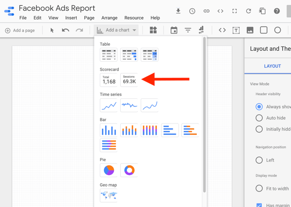 Use Google Data Studio to analyze your Facebook ads, step 8, option to select the scorecard chart in Google Data Studio