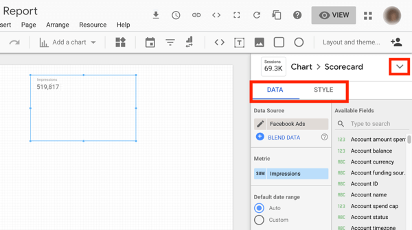 Use Google Data Studio to analyze your Facebook ads, step 9, menu options in Google Data studio to customize your chart data and style