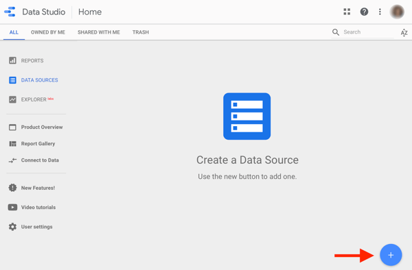 Use Google Data Studio to analyze your Facebook ads, step 1, option to create a data source in Google Data Studio