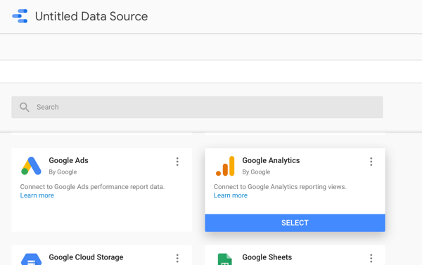 Use Google Data Studio to analyze your Facebook ads, step 2, option to use Google Analytics as your data source