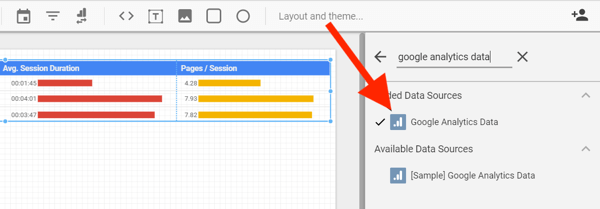 Use Google Data Studio to analyze your Facebook ads, step 22, option to select Google Analytics from your Facebook Ad data source