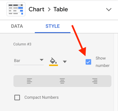 Use Google Data Studio to analyze your Facebook ads, step 23, option to show number for each metric